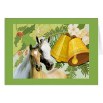Horses With Bells Christmas Card