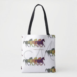 horses with name and initial on white tote bag