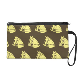 Horses yellow brown wristlet clutch