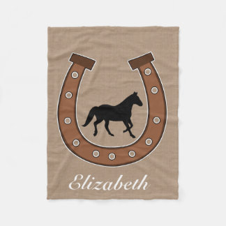 Horseshoe and Black Horse Monogram Fleece Blanket
