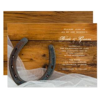 Horseshoe and Bridal Veil Country Barn Wedding Card