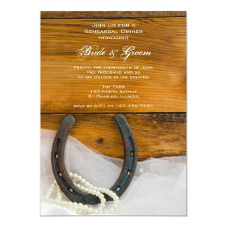 Horseshoe and Pearls Country Rehearsal Dinner 5x7 Paper Invitation Card