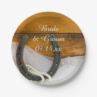 Horseshoe and Pearls Country Wedding Paper Plates 7 Inch Paper Plate