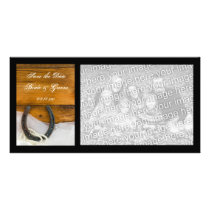 Horseshoe and Pearls Country Wedding Save the Date Card