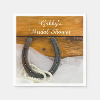Horseshoe and Pearls Country Western Bridal Shower Paper Napkin