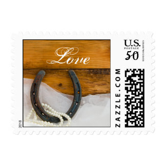 Horseshoe and Pearls Country Western Wedding Love Postage