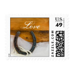 Horseshoe and Pearls Country Western Wedding Love Postage Stamp