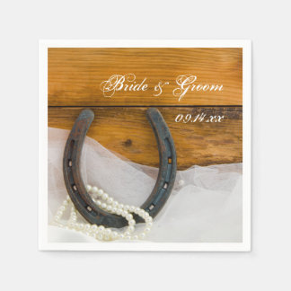 Horseshoe and Pearls Country Western Wedding Paper Napkin