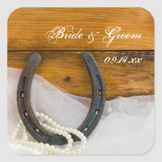 Horseshoe and Pearls Country Western Wedding Square Sticker