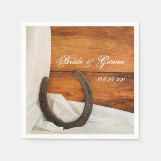 Horseshoe and Satin Country Barn Wedding Paper Napkin