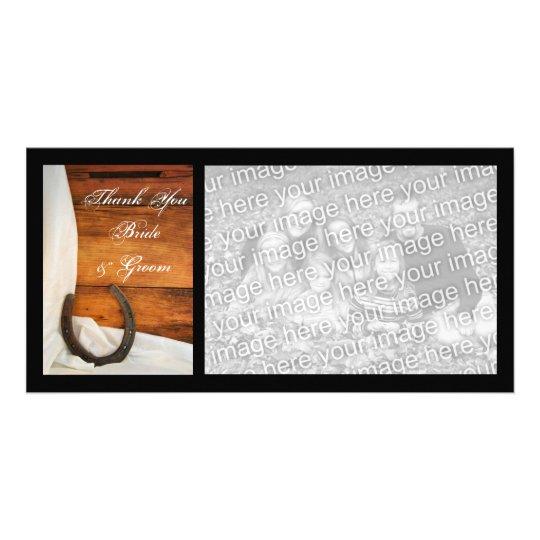 Horseshoe and Satin Country Barn Wedding Thank You Card