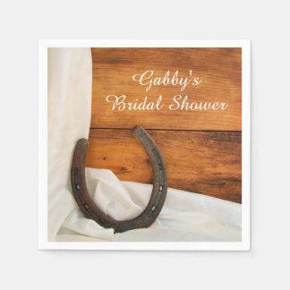 Horseshoe and Satin Country Bridal Shower Napkins Disposable Napkin