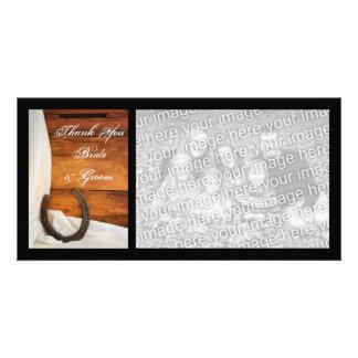 Horseshoe and Satin Country Wedding Thank You Customized Photo Card