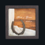 """Horseshoe and Satin Country Western Wedding Gift Box<br><div class=""""desc"""">Customize the charming Horseshoe and Satin Country Western Wedding Gift Box with the personal names of the bride and groom and specific marriage ceremony date. Create a personalized keepsake wedding gift for the newlyweds or thank you present for your wedding attendants, bridesmaids and bridal party. This pretty little box is...</div>"""