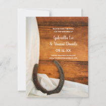Horseshoe and Satin Western Wedding Save the Date