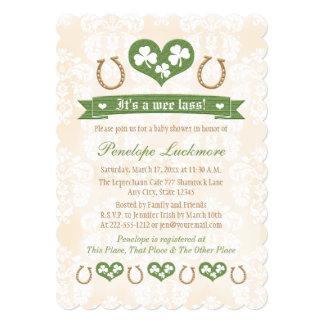 Horseshoe and Shamrocks Baby Shower Card