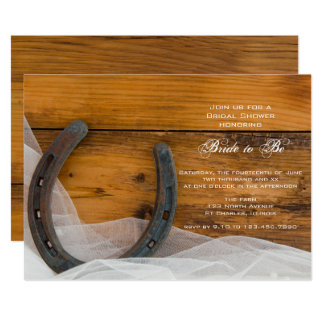 Horseshoe and Veil Country Barn Bridal Shower Card