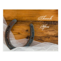 Horseshoe and Veil Country Barn Wedding Thank You Postcard