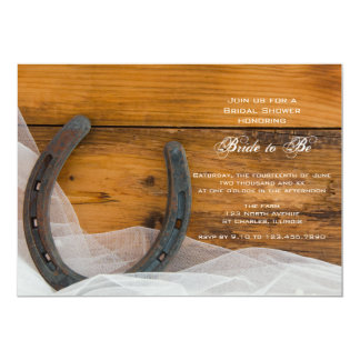 """Horseshoe and Veil Country Bridal Shower Invite 5"""" X 7"""" Invitation Card"""