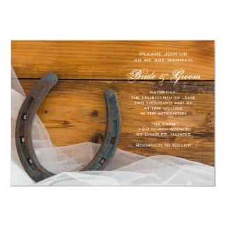 "Horseshoe and Veil Country Wedding Invitation 5"" X 7"" Invitation Card"