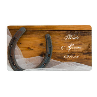 Horseshoe and Veil Country Wedding Label Shipping Label