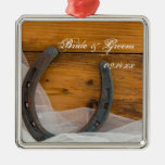 Horseshoe and Veil Country Wedding Ornament