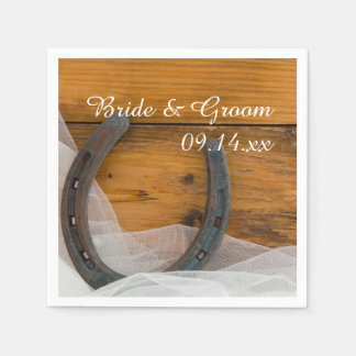 Horseshoe and Veil Country Wedding Paper Napkins