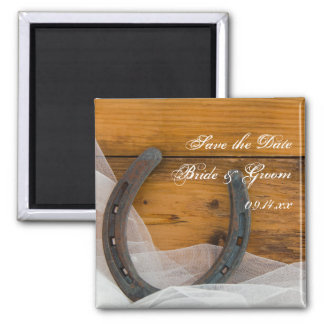 Horseshoe and Veil Country Wedding Save the Date 2 Inch Square Magnet