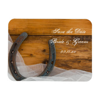 Horseshoe and Veil Country Wedding Save the Date Rectangular Photo Magnet
