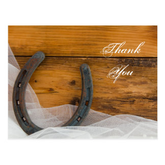 Horseshoe and Veil Country Wedding Thank You Post Cards
