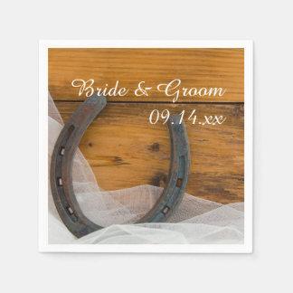 Horseshoe and Veil Country Western Wedding Napkin