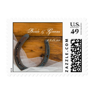 Horseshoe and Veil Country Western Wedding Postage