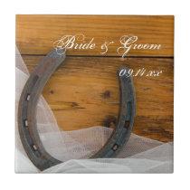 Horseshoe and Veil Country Western Wedding Tile