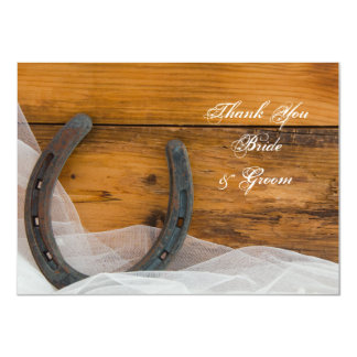 Horseshoe and Veil Western Wedding Thank You Note Card