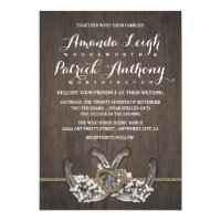 Horseshoe Baby's Breath Rustic Wedding Invitations