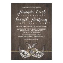 Horseshoe Baby's Breath Rustic Wedding Invitations
