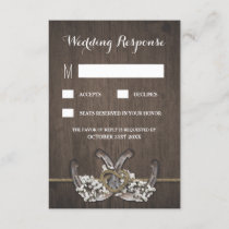 Horseshoe Baby's Breath Rustic Wedding RSVP Cards