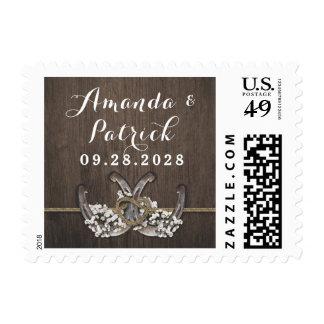 Horseshoe Baby's Breath Rustic Wedding Stamps