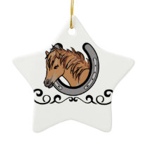 Horseshoe Border Ceramic Ornament