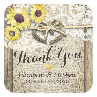 Horseshoe Burlap Lace Sunflowers Wedding Thank You Square Sticker
