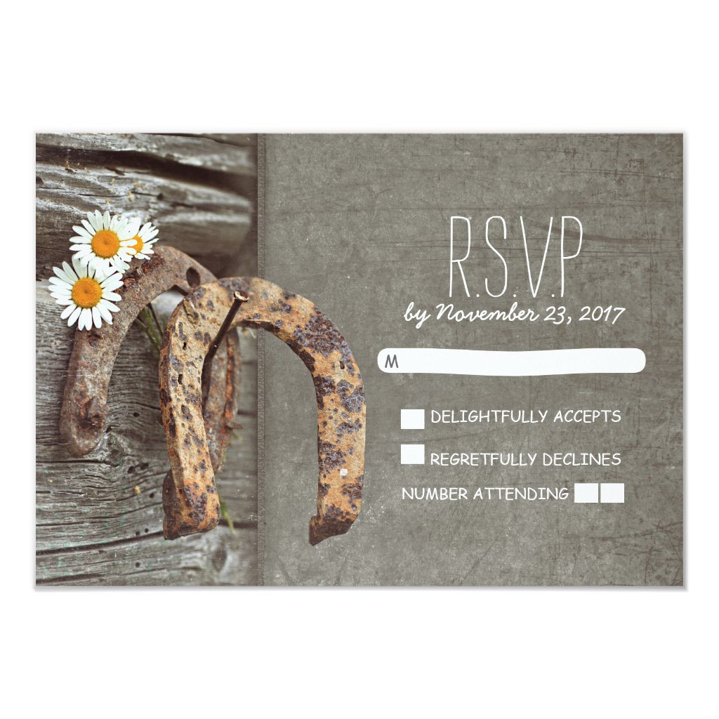 Horseshoe country rustic wedding RSVP cards