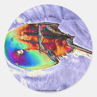 Horseshoe Crab Foil Design Classic Round Sticker