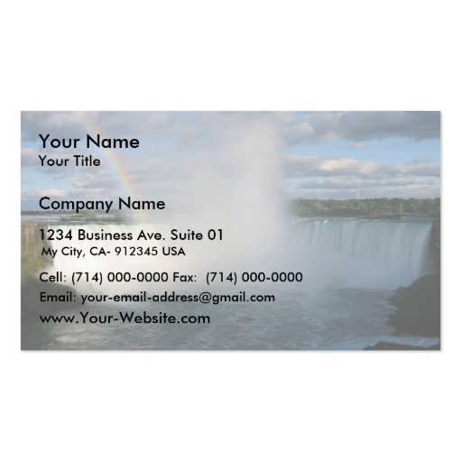 Horseshoe Falls And Rainbow From The Canadian Side Double-Sided Standard Business Cards (Pack Of 100)