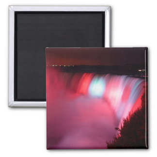 Horseshoe Falls At Niagara Red Blue Lights Magnet