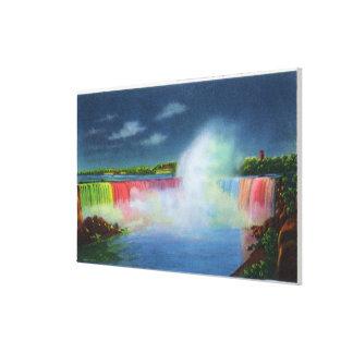 Horseshoe Falls Illuminated at Night # 2 Canvas Print