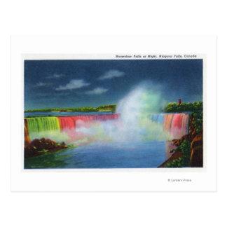 Horseshoe Falls Illuminated at Night # 2 Postcard