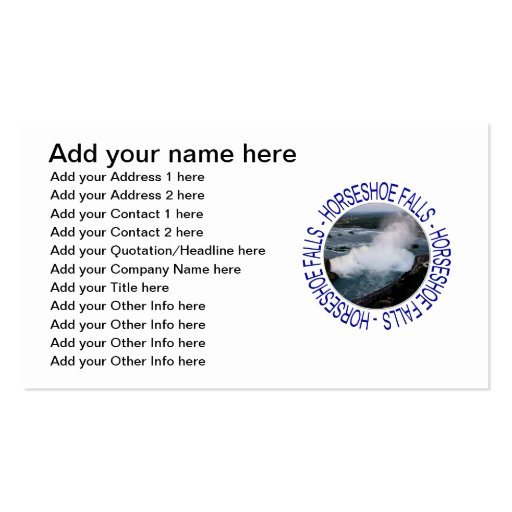 Horseshoe Falls - Niagara Falls, Canada Business Card