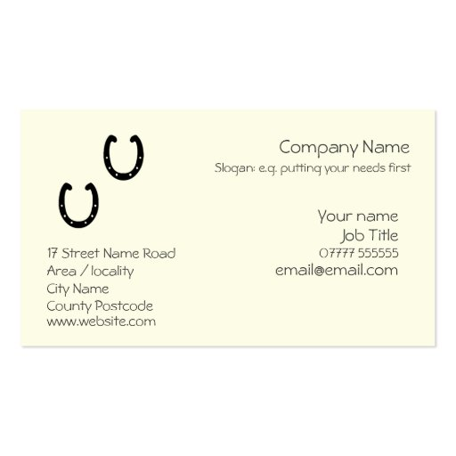 Horse Profile Cards Business Card Templates BizCardStudio - Generic business card template