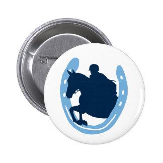 Horseshoe Jumping Horse Button