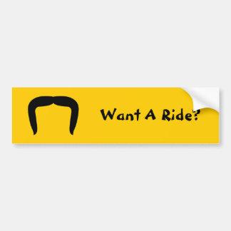 Horseshoe Mustache Car Bumper Sticker